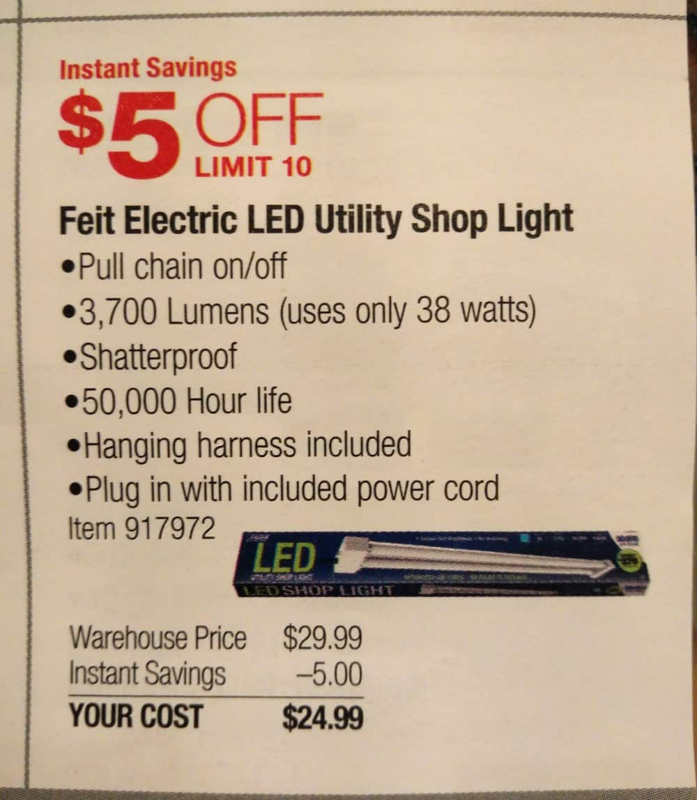 Led Garage Light Fixtures Costco: Feit 4' LED Utility Shop Light $25 At Costco B&M Starts 1