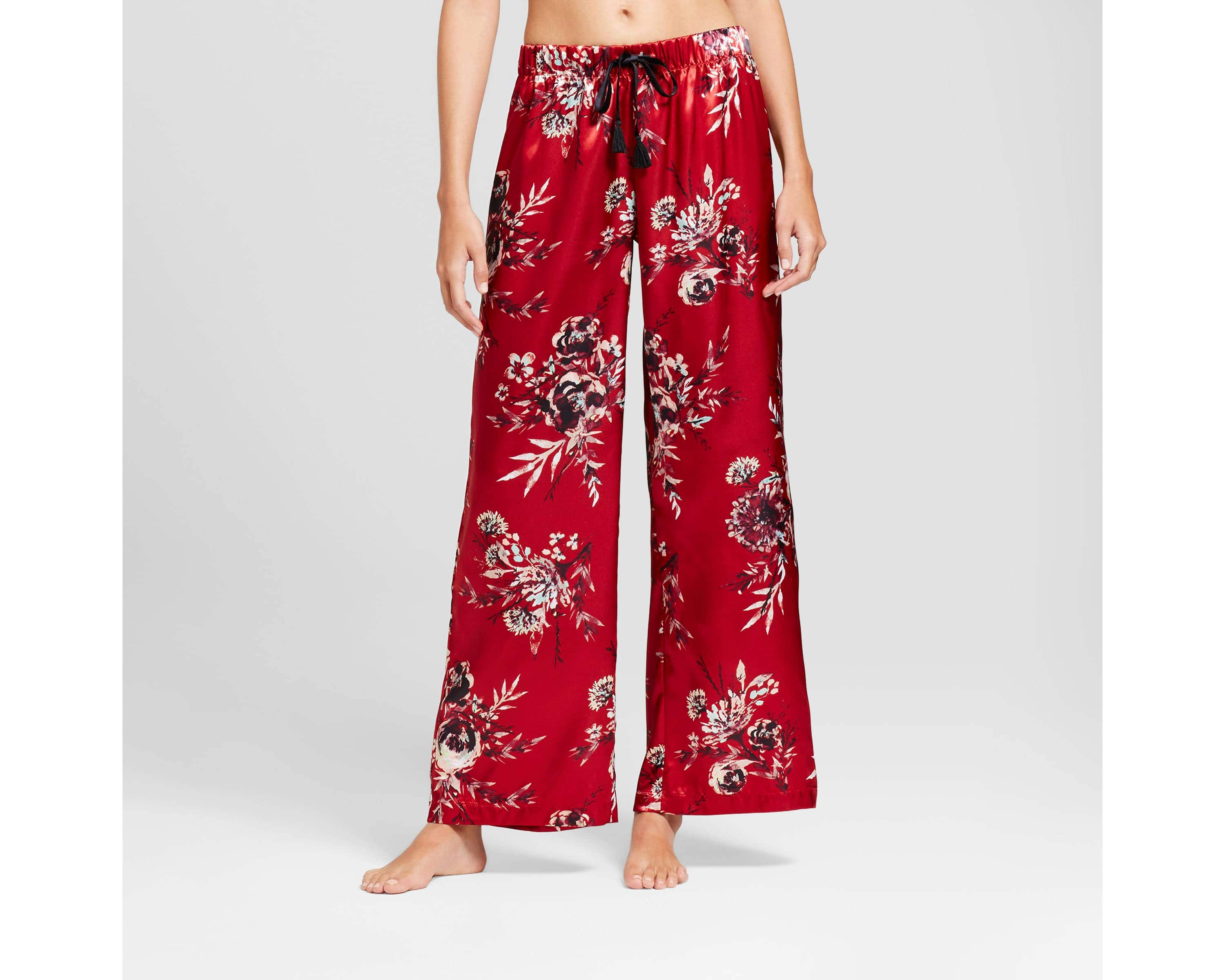 Women's Satin Floral Pajama Pants $6