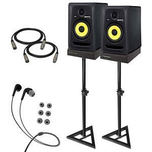 "KRK RP5G3 ROKIT 5 G3 5"" Studio Monitor Speaker Pair + Stands + Cables + Pads $299"