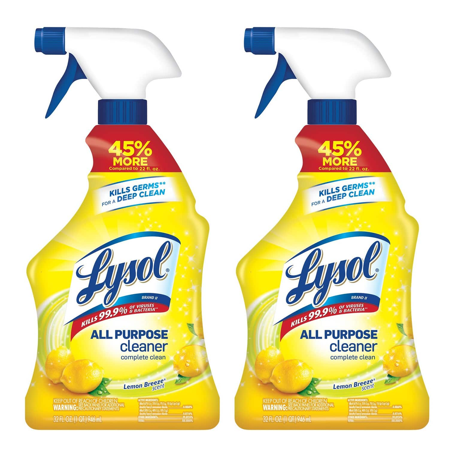 Walmart: 2 Lysol All Purpose Cleaner Spray, Lemon Breeze, Kills Germs (2X32oz) $4.97