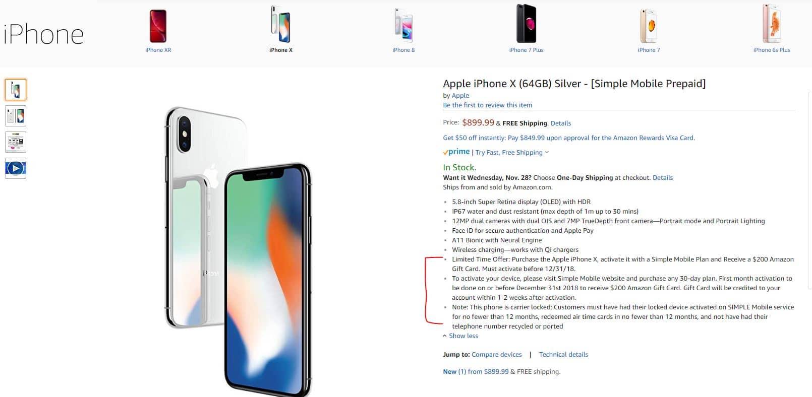 Simple Mobile iPhone X - $899 99 Sale Price and Get $200