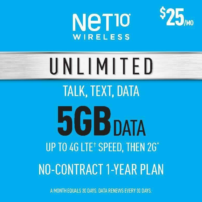 NET10 Annual PrePaid Phone Plans: Unlimited Talk/Text w/ 5GB Data