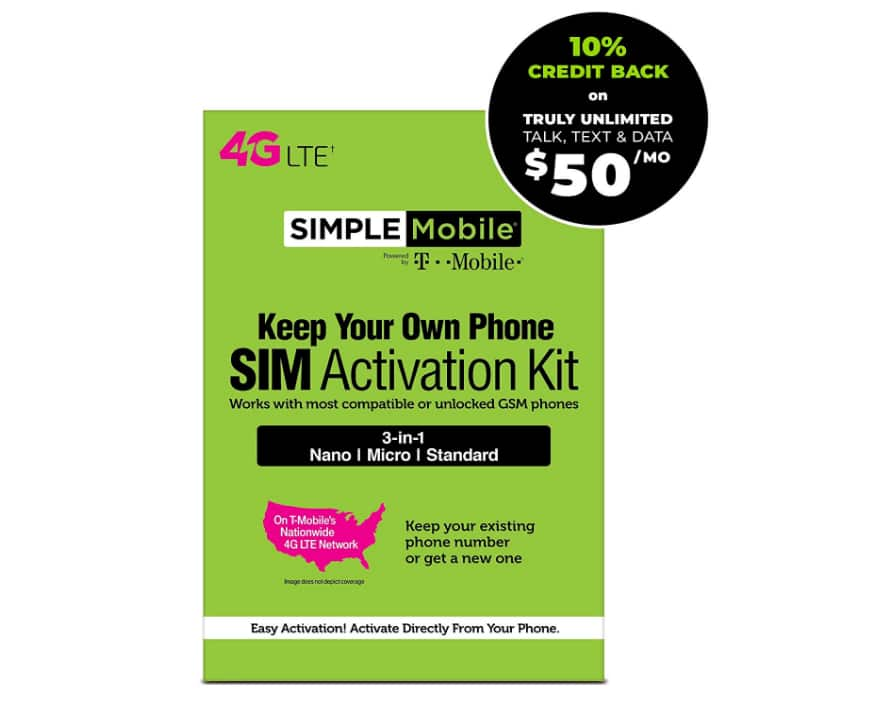 Simple Mobile Truly Unlimited Exclusive Plan on Amazon - $50