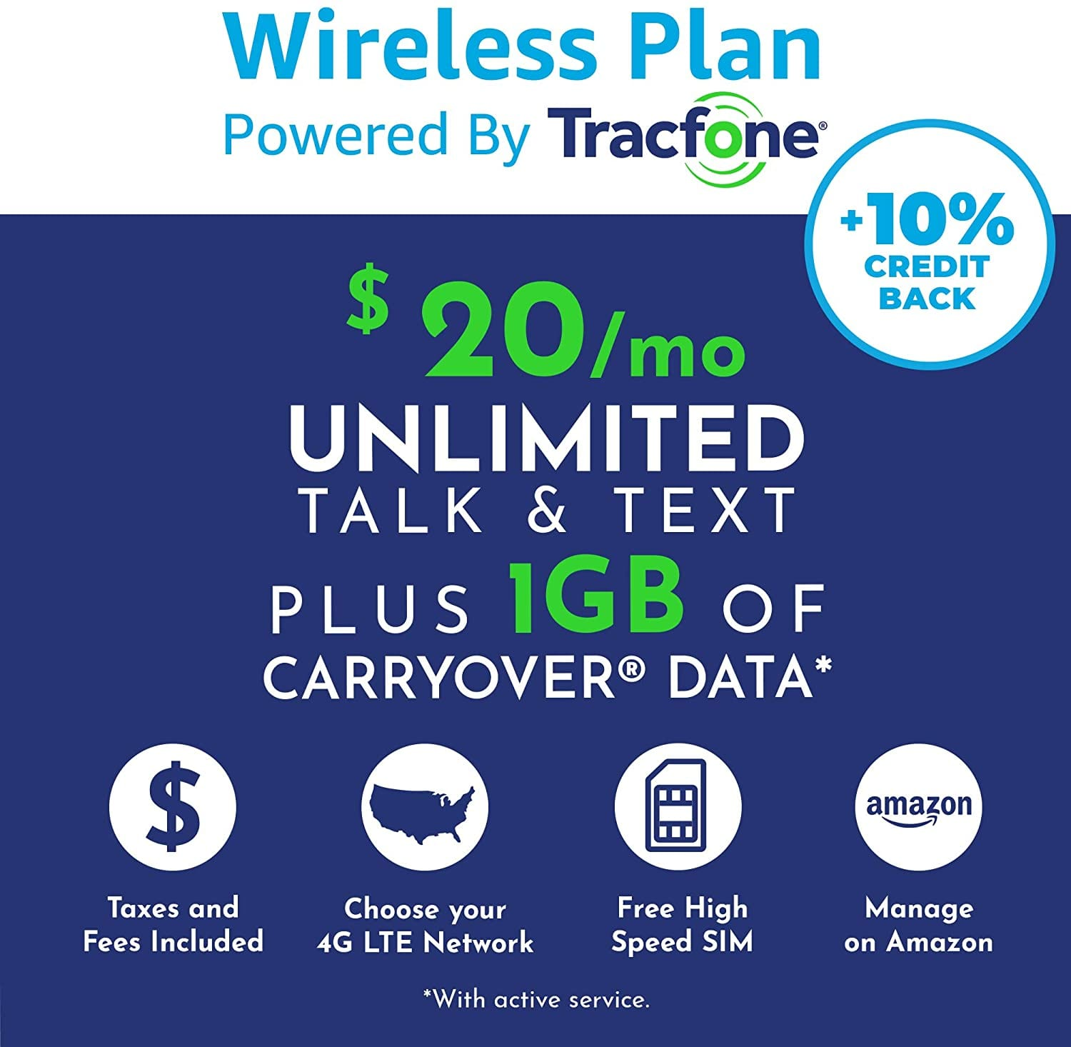 Amazon Wireless Plans - Tracfone Unlimited Talk, Text, 1GB Exclusive on Amazon w/Prime - $20 ALL IN ($5 OFF First Month) $15