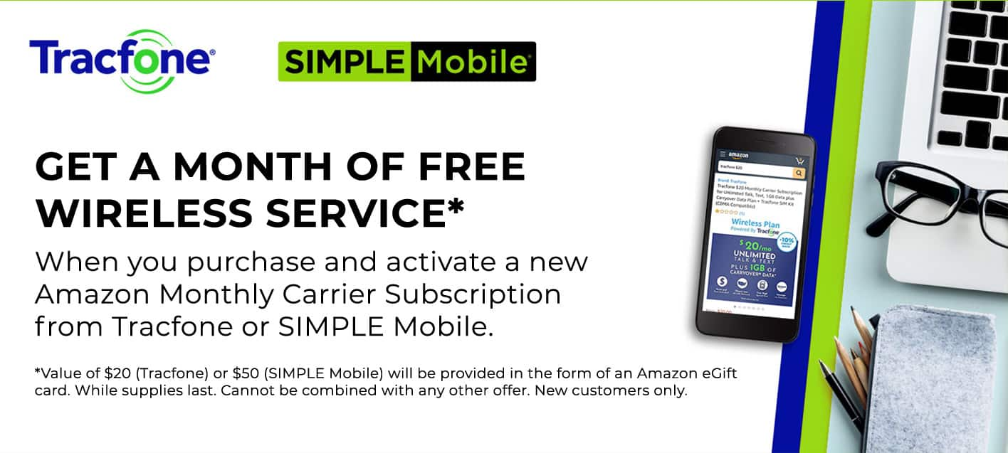 Prime Members: Amazon Wireless Plans Second Month Free - Tracfone Unlimited Talk, Text, 1GB & Simple Mobile Unlimited Talk, Text, Data $15
