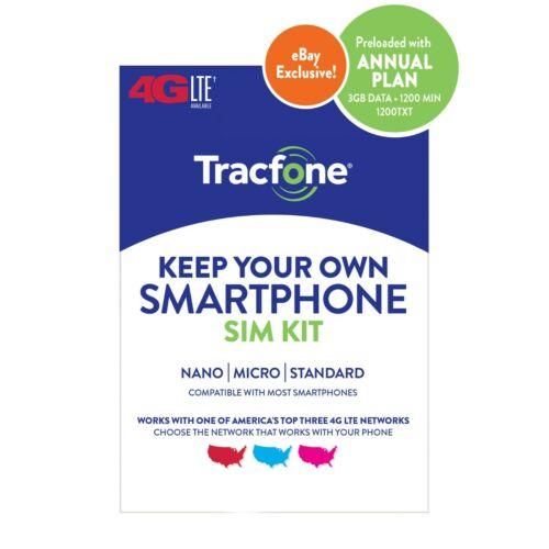 Tracfone 1-Year Prepaid Smartphone Plan w/ 1200 Min, 1200 Txt & 3GB Data $30 + Free Shipping $29.99