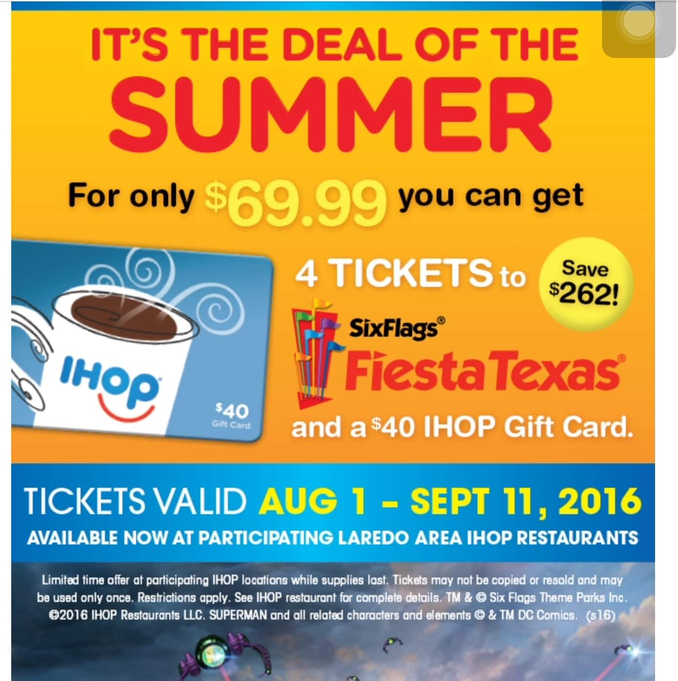 4 six flags tickets and a 40 ihop gift card 69 99 ymmv possible texas only slickdeals net