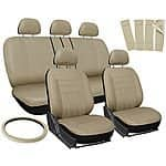 17pc Beige Car seat, steering wheel, belt pad cover set @ebay for $25.27 + fs