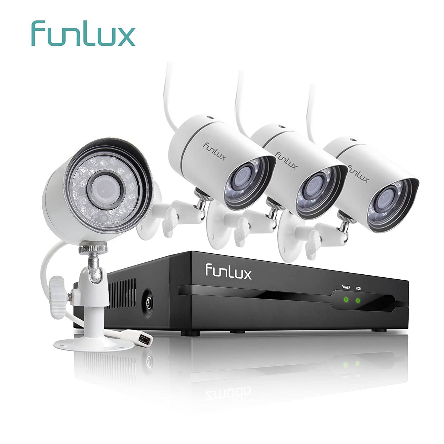 Funlux 4 Channel 1080p HDMI NVR Simplified PoE 4 720p HD Outdoor Indoor Security Camera System $95.99