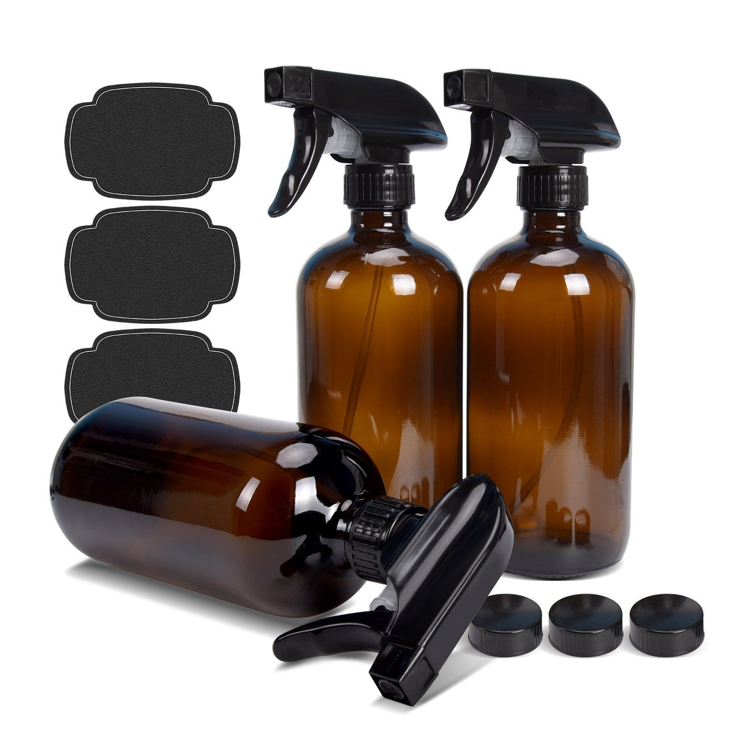 16 oz ULG 3 Piece Amber Spray Empty Glass Bottles - Heavy Duty Trigger Sprayer Mist and Stream Settings for Essential Oils Cleaning Products $9.37