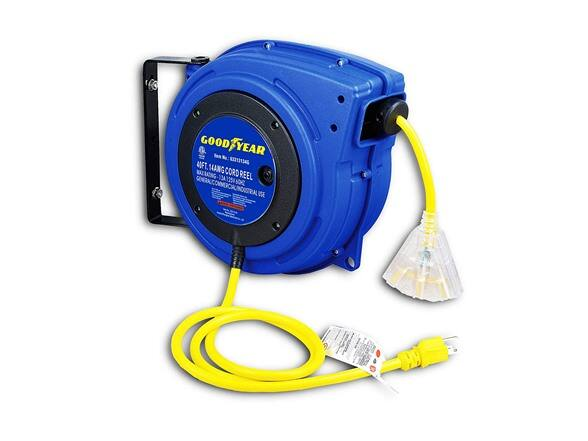Goodyear Retractable Cord Reel 14AWG x 40' ft. 3C/SJTOW Triple Tap with LED Light Connector $99.99 + Free Shipping W/Prime @ Woot