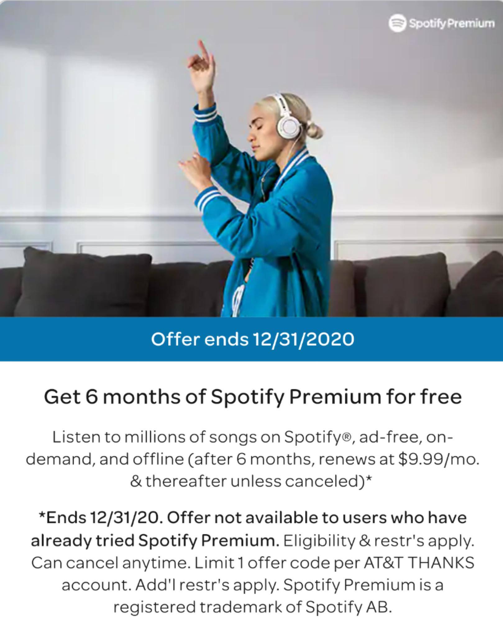 ATT Thanks Customers: Free 6-Mon Spotify Premium and Free 2- Mon Daily Burn ( For new Spotify Premium subscribers only and New Daily Burn subscribers only )
