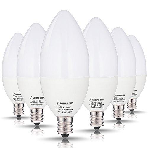 6-pack lohas e12 60 watt candelabra led bulb daylight white for $16.89 @amazon