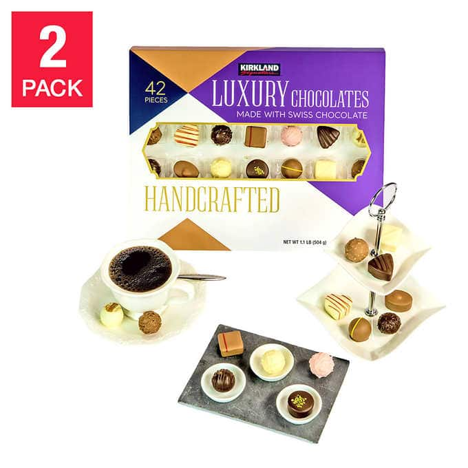 Kirkland Signature Handcrafted Luxury Chocolates, 42 Count (2 pack) $19.97 Shipped (normally $54.99)
