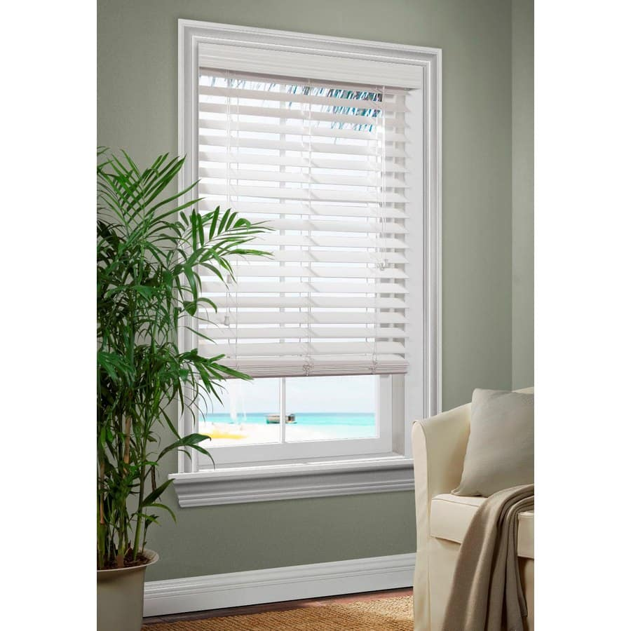 Allen Roth 2 5 In White Faux Wood Room Darkening Horizontal Blinds 13 97