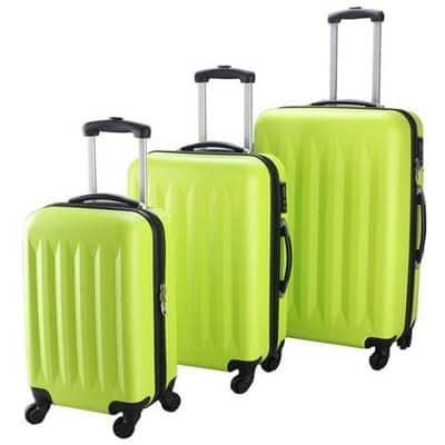 3-pc Hardside Luggage Spinners Set w/ Built-in Combination Lock - Green $50.99