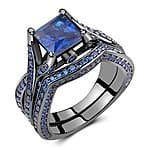 Caperci Black Sterling Silver 925 Princess-Cut Created Blue Sapphire Solitaire Wedding Engagement Ring Set with $64