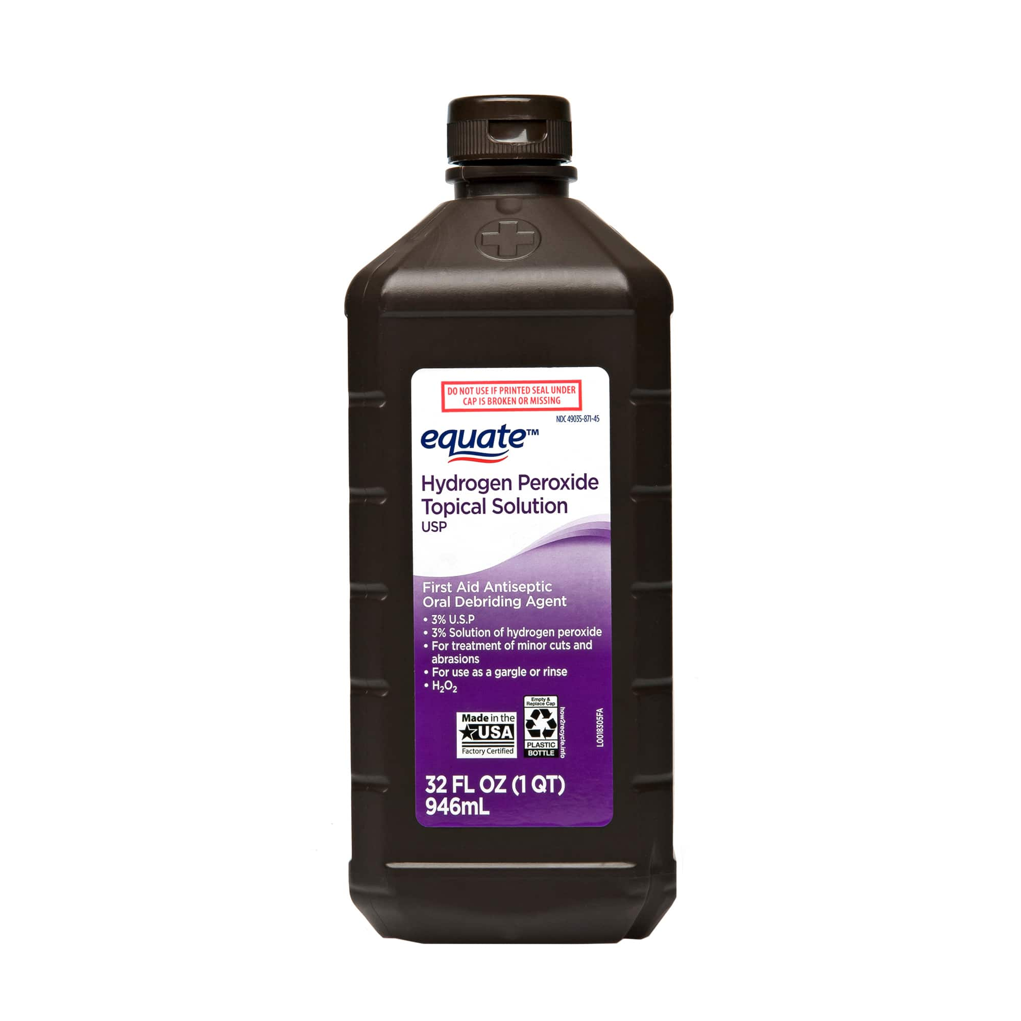 Hydrogen Peroxide at Walmart (4 Pack) Hydrogen Peroxide, 3%, 32-oz. $3.52 OR $3.69. Single or 2Pack also available