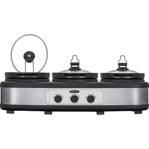 Bella - 3 x 2.5-Quart Triple Slow Cooker - Stainless Steel/Black $29.99