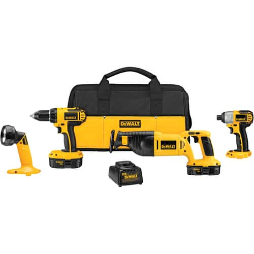 "4-Tool DEWALT 18-Volt Cordless Combo Kit (DCK425C): 1/2"" Compact Drill/Driver (DC720) + Impact Driver (DW056) + Reciprocating Saw (DW938) + Pivoting Head Flashlight $199 + Free Sto"