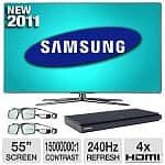"55"" Samsung UN55D7000 WiFi 1080p 240Hz 3D LED HDTV + Samsung BD-D5500 3D Blu-ray Player + 2 Pairs of 3D Glasses"