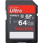 Sandisk Ultra SDHC UHS-I 30MB/s Class 10 Memory Cards: 16GB $17, 32Gb $26, 64GB SDXC