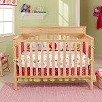 Graco Lauren 4-in-1 Convertible Fixed Side Crib w/ Bonus Kolcraft Pediatric Toddler Crib Mattress (Espresso, White, Natural, Walnut or Cherry Finish)