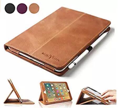 iPad Pro 9.7 Case, BoriYuan Vintage Genuine Leather Cover Protective Slim Folio Flip Stand $25.79