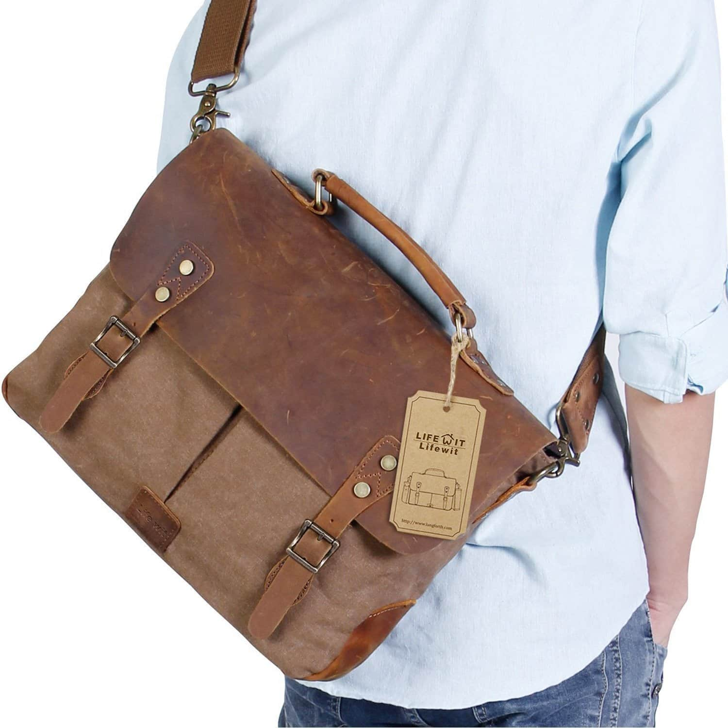 40% off Vintage Leather Mens Laptop Bags Canvas Messenger Satchel Briefcase Fit up to 15.6-Inch  $32.99AC @  Amazon