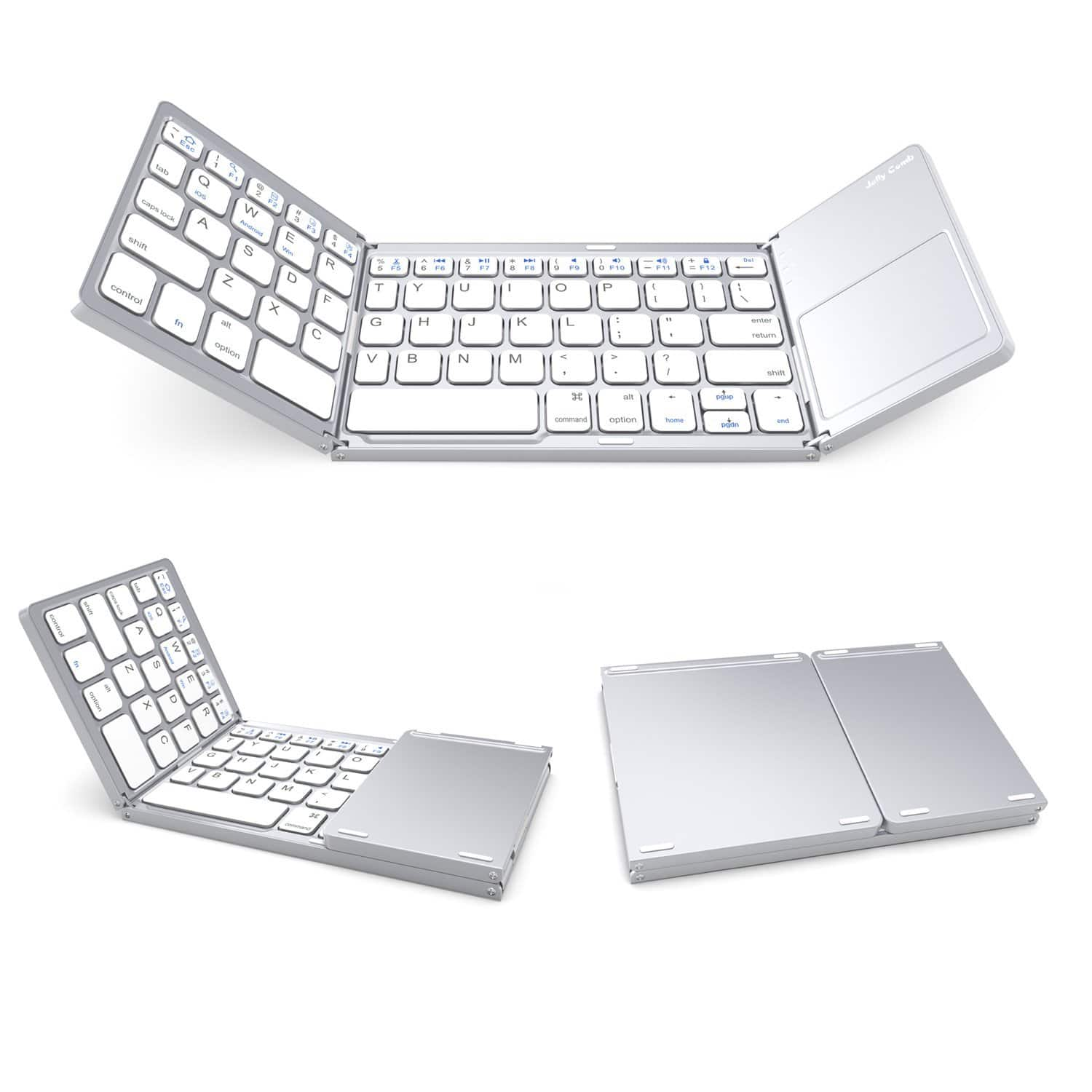 Rechargeable BT Wireless Folding Bluetooth Keyboard with Touchpad (Silver) $19.79