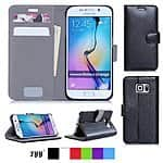 FYY® Premium Leather Flip Wallet Case for Samsung Galaxy s6, s6 Edge - $7 @amazon.com