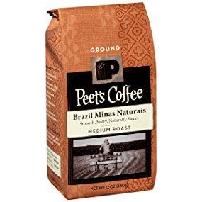 Peet's Coffee Brazil Minas Naturais, Medium Roast, Ground 12oz bag (Add-On) $4.71