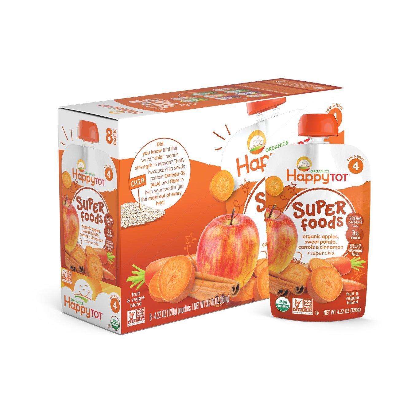 Amazon Happy Baby happy tot Sweet Potato, Apple, Carrots & Cinnamon,4.22 oz (Pack of 8) $3.41 (Add-On)