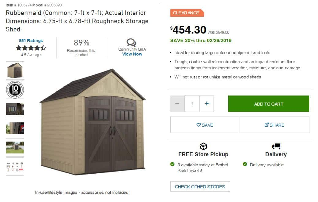 Rubbermaid 7x7 Roughneck Storage Shed $454.30 - CLEARANCE