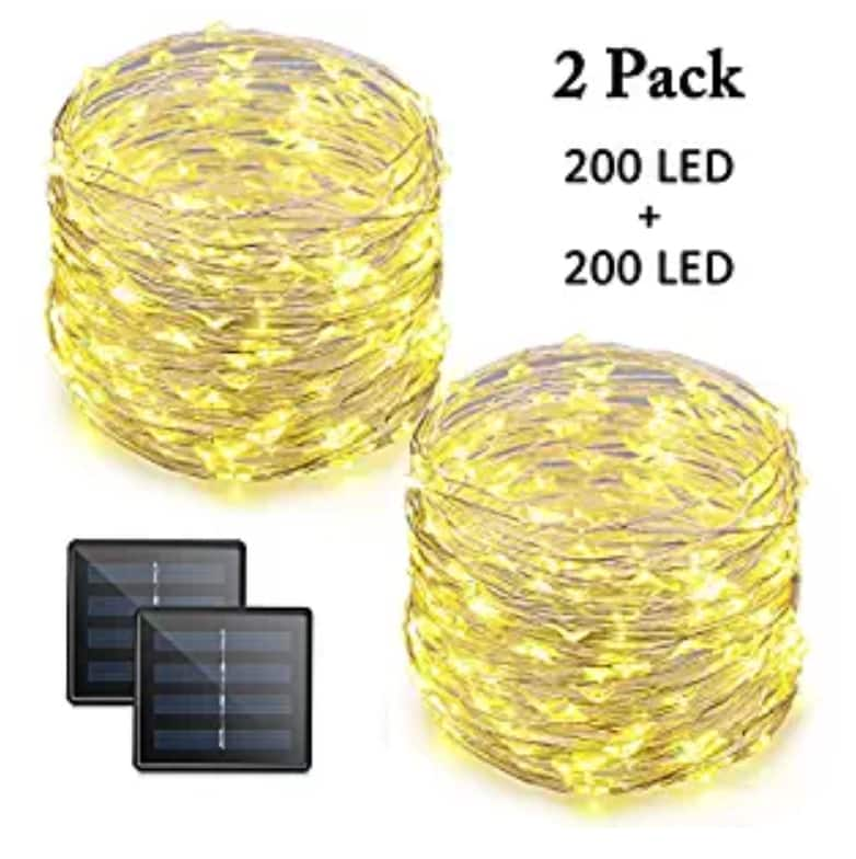 Vmanoo LED String Lights 72 Feet 200 LED Solar Powerd Warm White 2-PACK $0.04