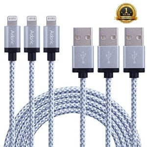 Adoric 3Pack 10ft/3m Extra Long Nylon Braided Lightning to USB iPhone Sync/Charging Cable for $12.99
