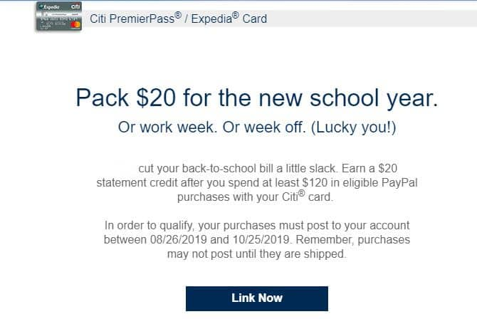 Citicards Pay Bill >> Citicard Expedia 20 Statement Credit On 120 Eligible