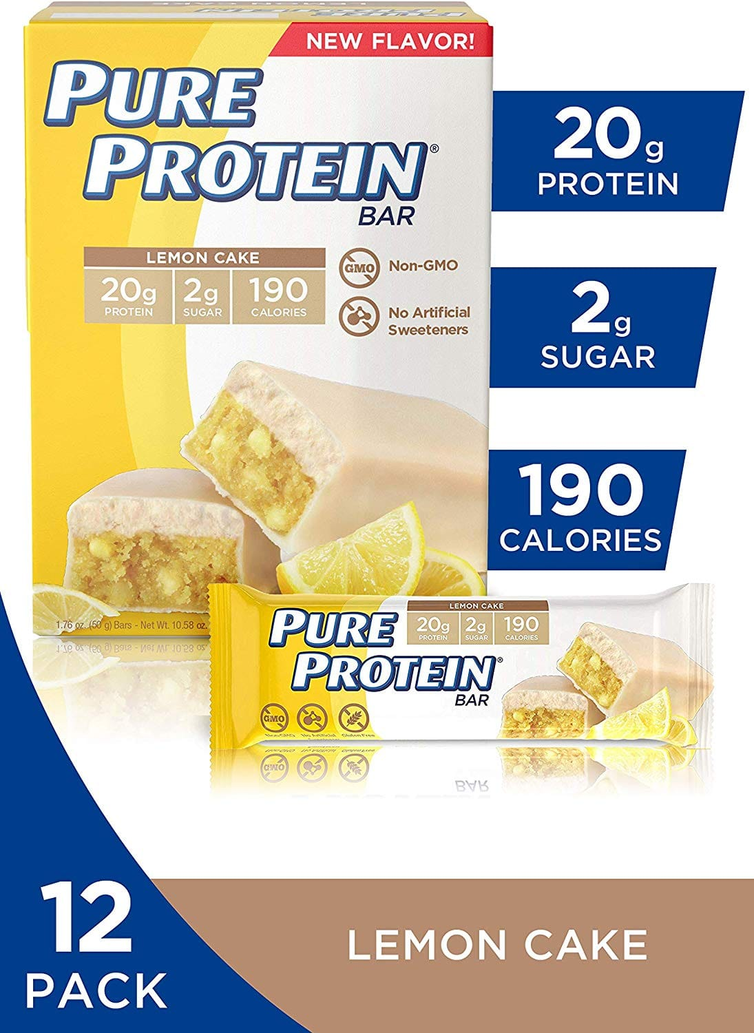 Pure Protein Bars, High Protein, Nutritious Scks to Support Energy, Low Sugar, Gluten Free, Lemon Cake, 1.76 Oz, Pack of 12 $8.62