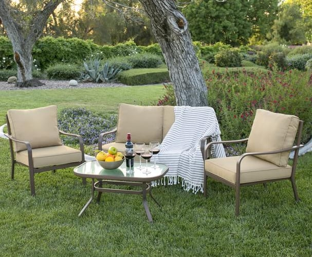 4-Piece Cushioned Patio Furniture Set w/ Loveseat & 2 Chairs & Coffee Table for $225