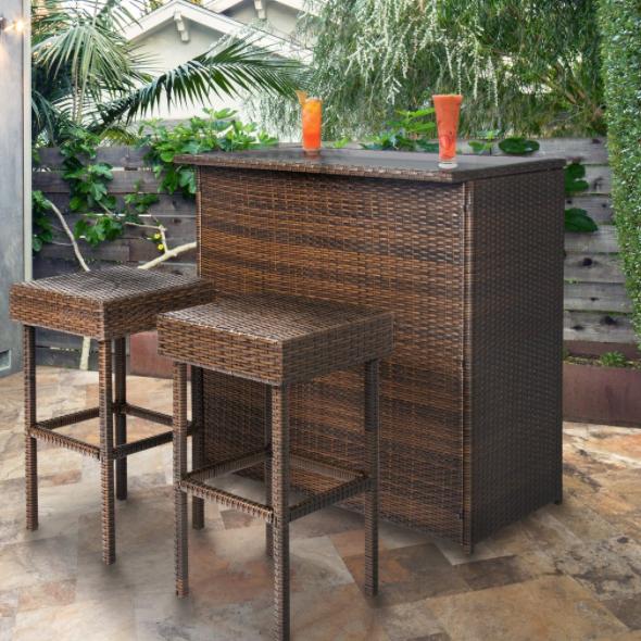 3-Piece Wicker Bar Set Patio Outdoor Backyard Table w/ 2 Stools Rattan Garden Furniture $145