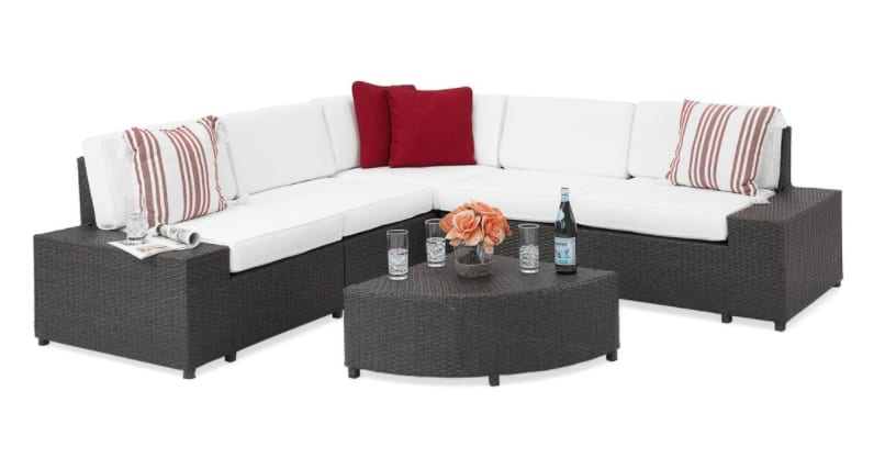 Patio Furniture 6Piece Wicker Sectional Sofa Set W Corner Coffee