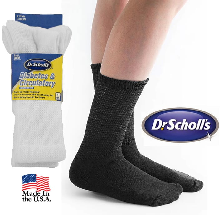 (4 Pairs) Dr. Scholl's Diabetic and Circulatory Crew Socks (Made in the USA) $6.99