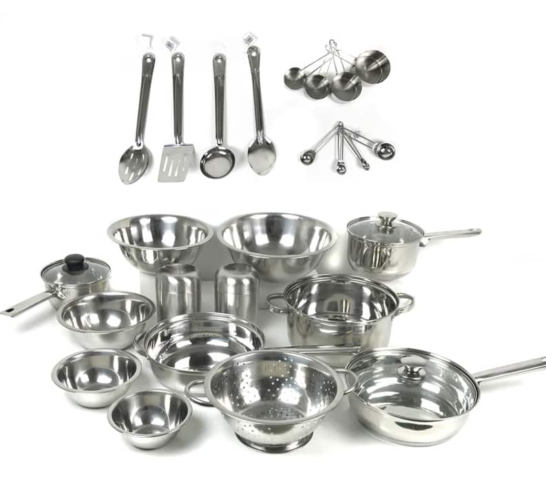 29-Piece Stainless Steel Cookware and Prep Set $34.79