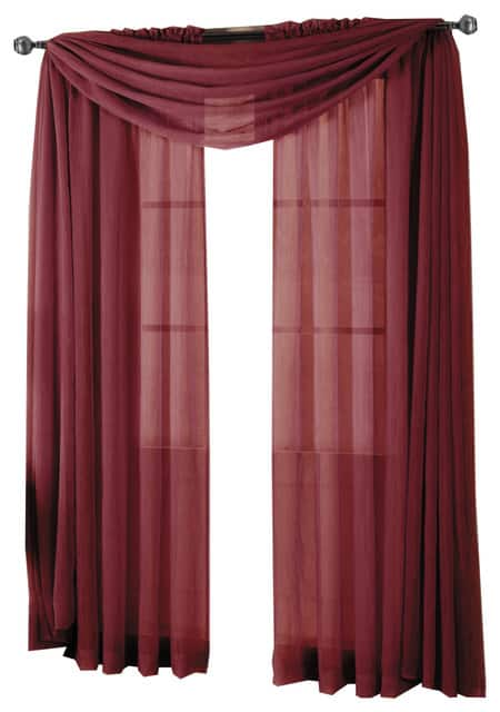 Abri Rod Pocket Sheer 1-Curtain or 1-Scarf (various sizes and colors) $6.99+ w/ Free Shipping