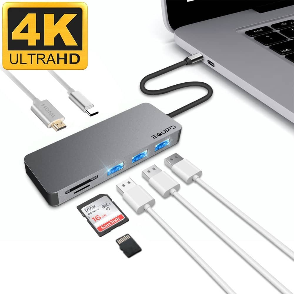 Usb Type C Hub To Hdmi Adapter Macbook Pro 30 With Sdtf Card Aluminum Equipd W 4k