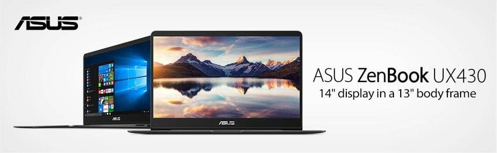 "$971 - ASUS ZenBook UX430UA-DH74 Ultra-Slim Laptop 14"" FHD wideview display 8th gen Intel Core i7 Processor, 16GB DDR3, 512GB SSD, Windows 10, Backlit keyboard, Quartz Grey"