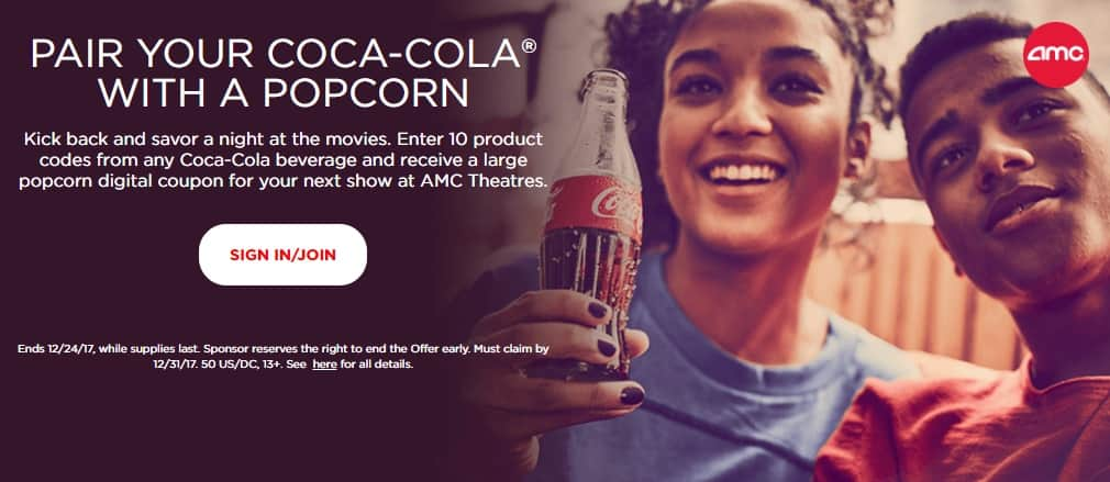 Coke Rewards 10 codes gets a Free Large Popcorn at AMC