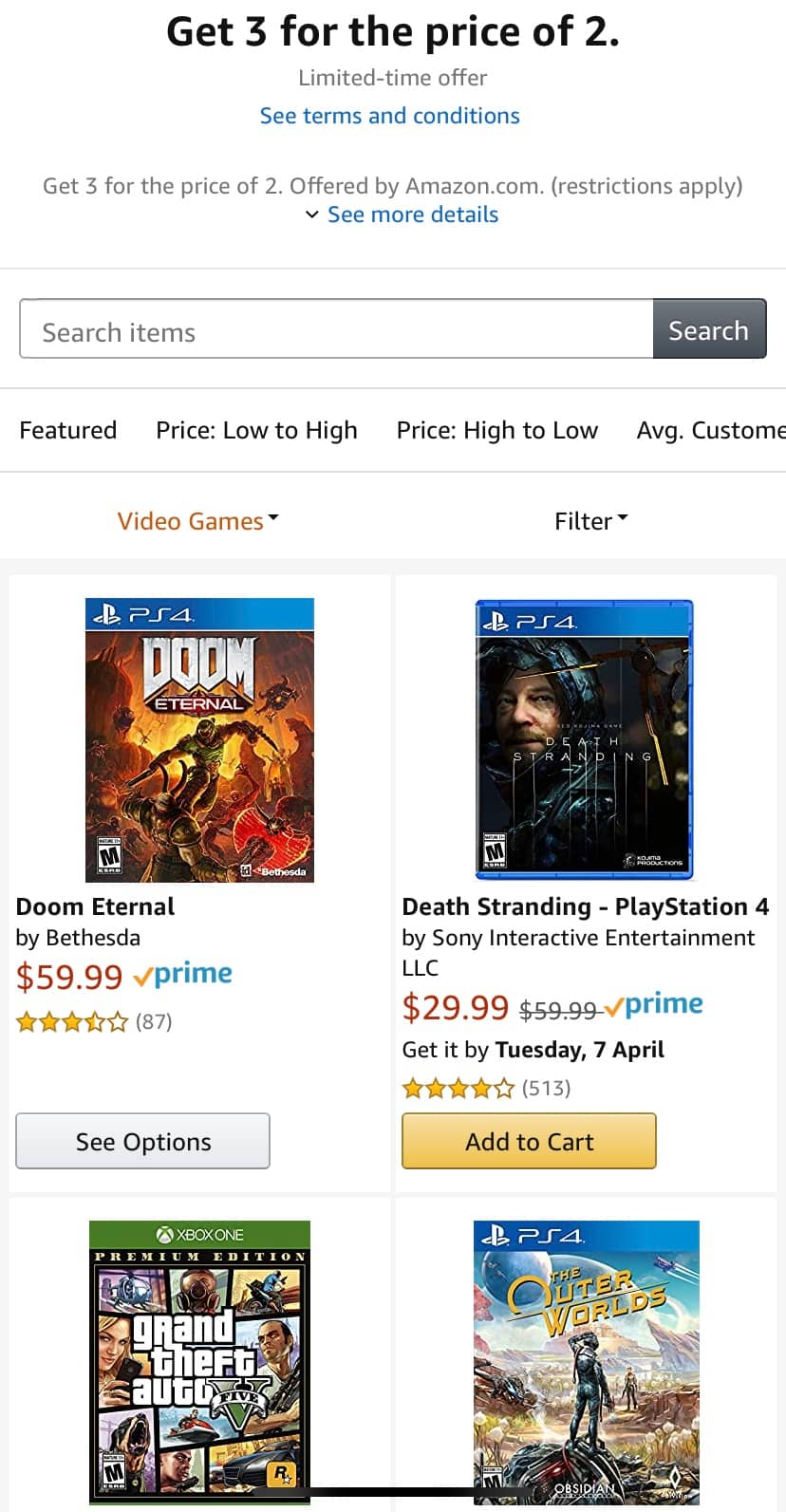 Amazon Games Buy 2 Get 1 PS4, Xbox One, Switch