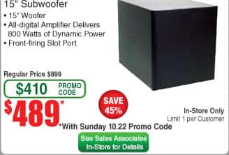 Klipsch R-115SW Subwoofer at Frys for $489 after code, in store only, begins Sunday 10/22, no tax