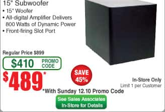 Klipsch 15 inch subwoofer R-115SW at Frys for $489 after code, in store only, begins Sunday 12/10
